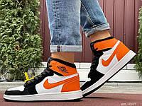 Мужские кожаные кроссовки Nike Air Jordan 1 Retro белые с оранжевым, фото 1