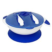 Тарелка на присоске с ложкой и вилкой (синяя), фото 1
