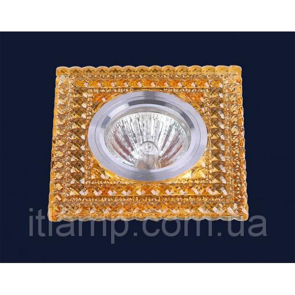 Точечные светильники врезные Квадрат с оранжевыми кристаллами Levistella 705A86