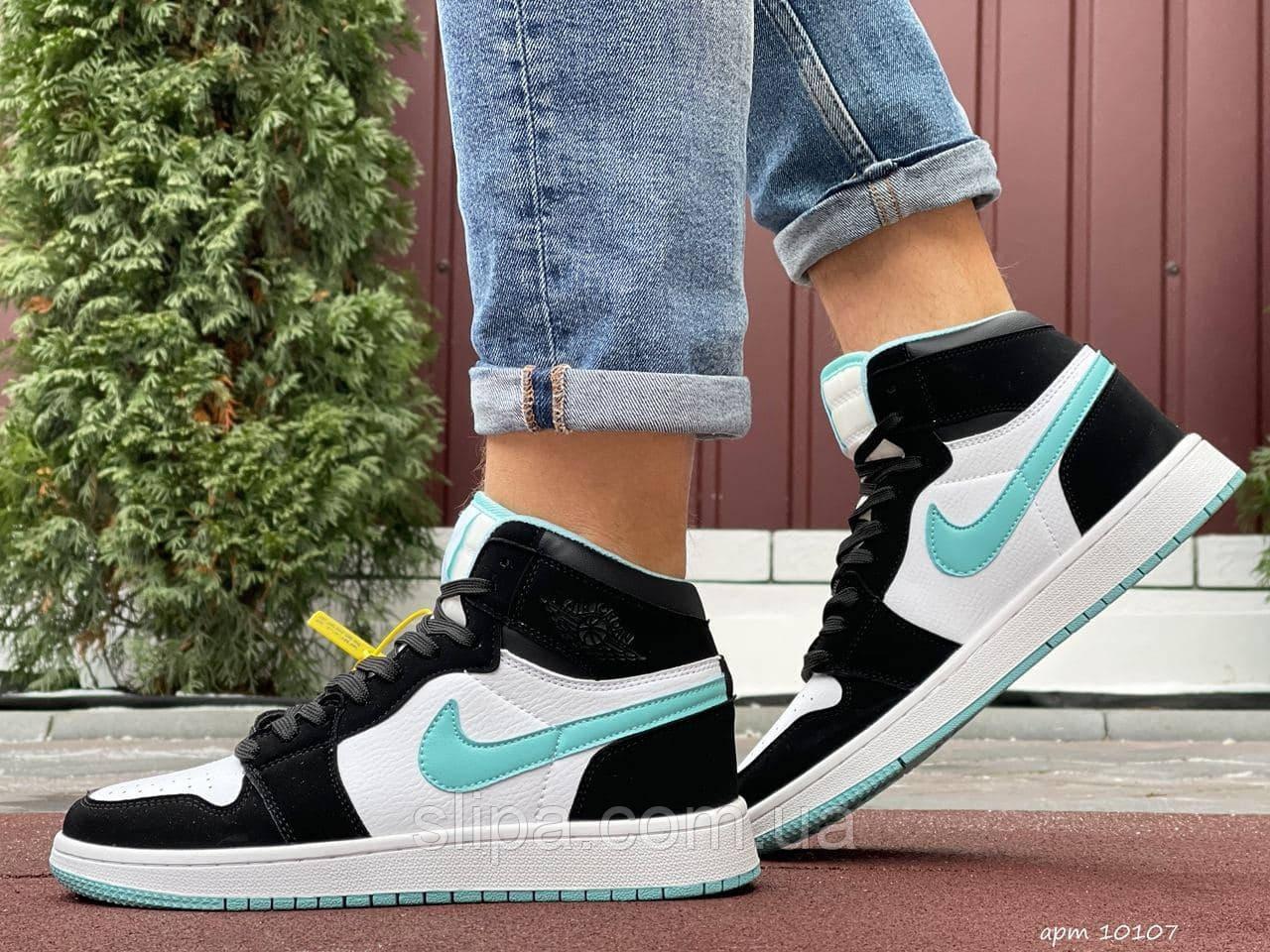 Чоловічі шкіряні кросівки Nike Air Jordan 1 Retro білі з м'ятним