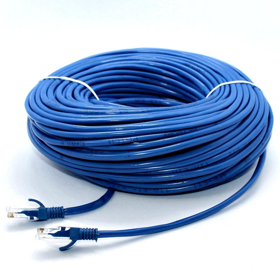 Патч-корд LAN 50 м CAT 5e Синий UTP Сетевой кабель витая пара для интернета Ethernet Лан