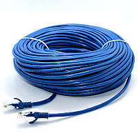 Патч-корд LAN 50 м CAT 5e Синий UTP Сетевой кабель витая пара для интернета Ethernet Лан, фото 1