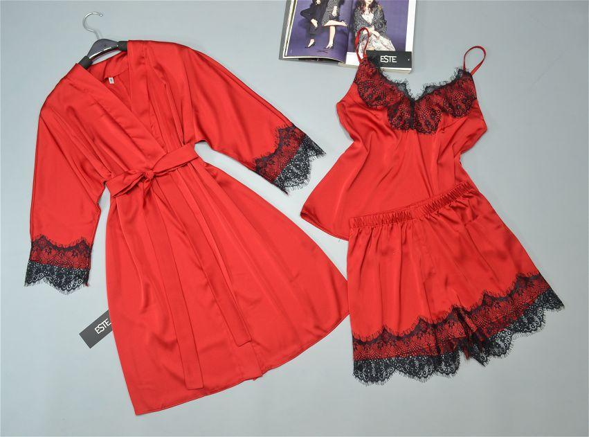 Шелковый комплект халат и пижама ( майка+шорты) Este с кружевом красный.