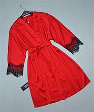Красный шелковый халат ТМ Este с кружевом 500.