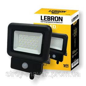 Прожектор светодиодный с датчиком движения LED LEBRON LF-20S 20W, 6500K, 1600LM дневной свет