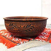 Макитра средняя с резкой 23 см 4л, посуда из красной глины