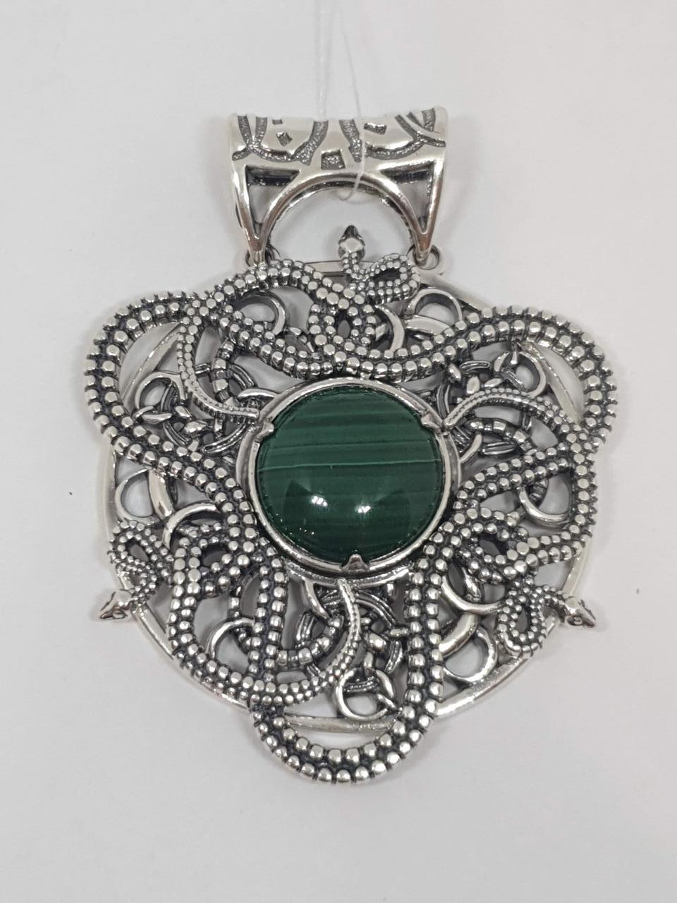 Серебряная подвеска с малахитом. Артикул 0691169119