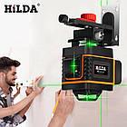 Лазерный уровень Hilda 3D 12 линий для стяжки пола, плитки ➜ ПУЛЬТ ➜ Кронштейн ➜ Зеленые лучи, фото 3