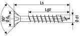 Саморез SPAX с покр. YELLOX 4,5х25, полная резьба, потай, PZ2, 4-CUT, упак. 1000 шт., пр-во Германия, фото 2