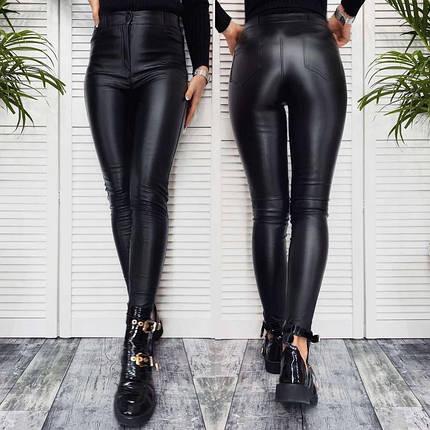 """Штаны женские теплые кожаные на флисе """"Kors""""  Норма и Батал, фото 2"""
