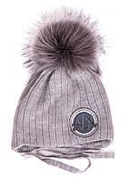 Детская зимняя шапка на завязках (флис), р. 44-48