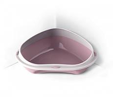 Туалет для котов  угловой Shuttle 49x40x17,5 см Розовый, КОД: 2399988