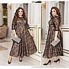 Женское длинное платье из флока с бархатным напылением батал