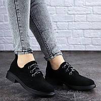 Женские туфли черные замшевые на шнурках 2006, фото 1