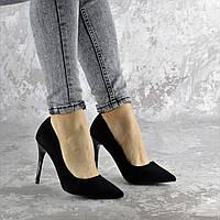 Туфли лодочки женские на каблуке черные замшевые 2333, фото 1