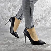 Туфли женские на каблуке черные кожаные 2362, фото 1