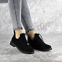 Туфли женские черные замшевые на шнуровке 2365, фото 1