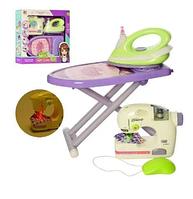 Детский игровой набор бытовой техники 6703B утюг 20 см, гладильная доска, швейная машинка шьет, звук, свет