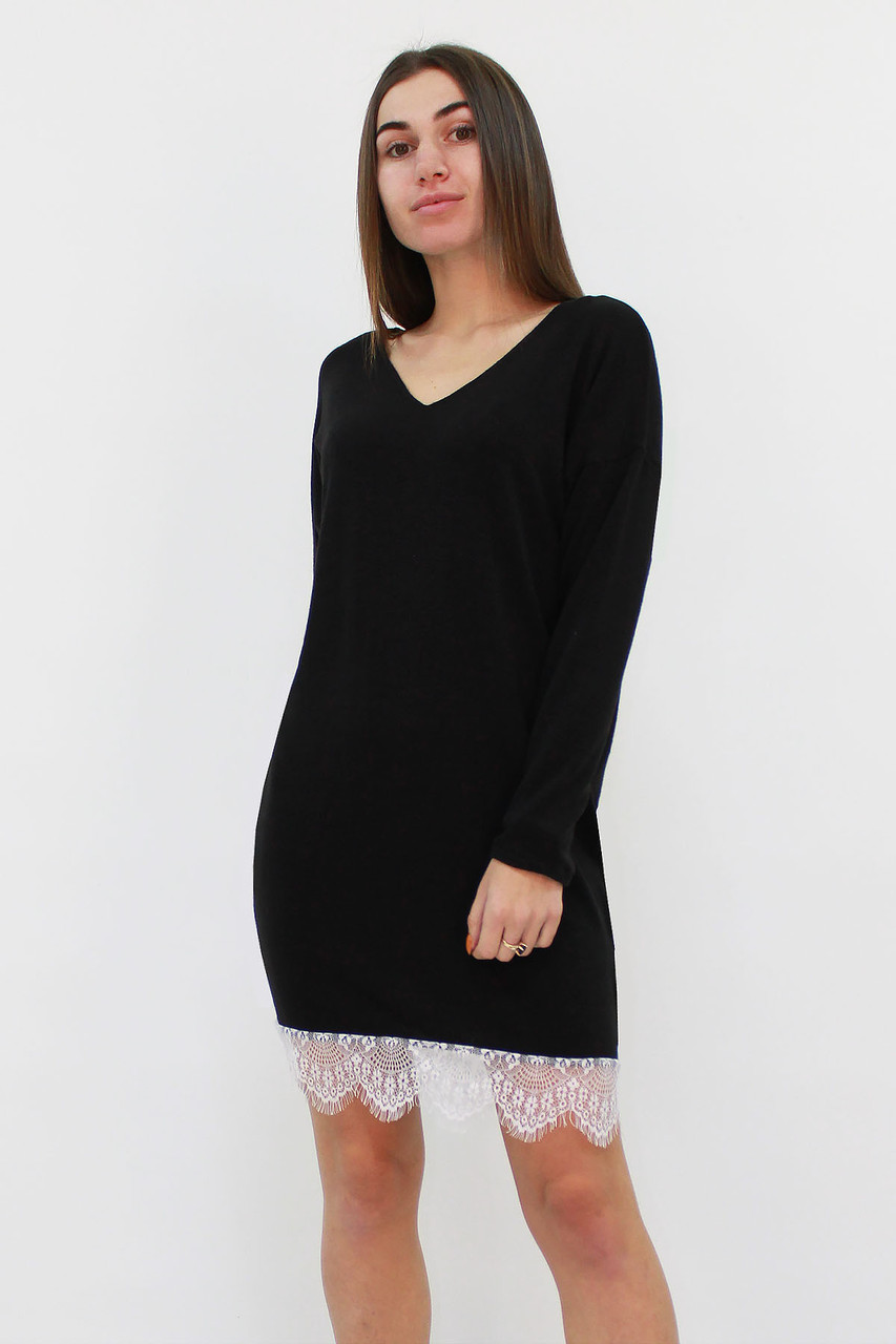 Свободное ангоровое платье-туника Kelly, черный