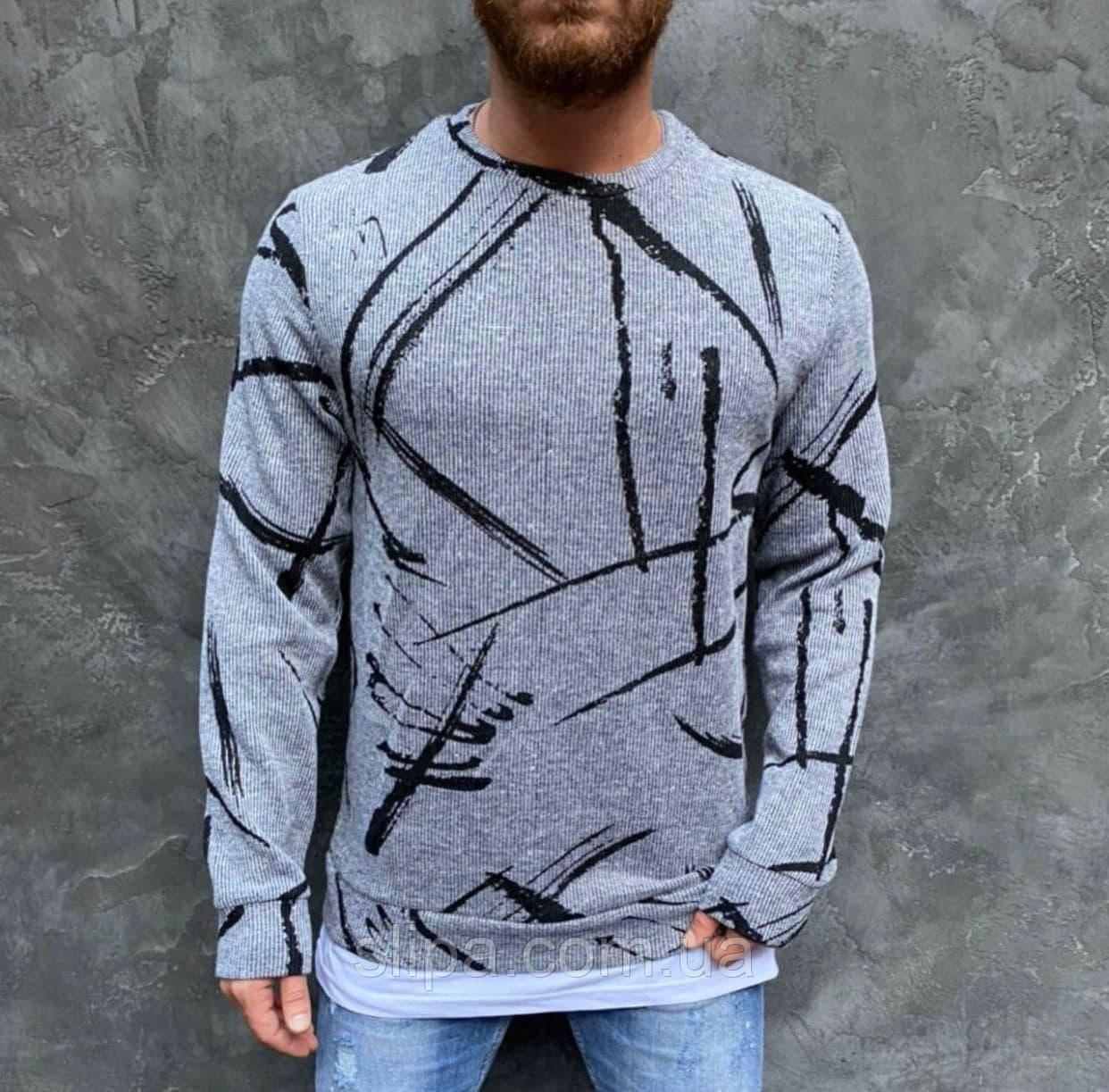 Мужской стильный свитер с принтом светло серый ( Турция )
