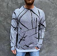 Мужской стильный свитер с принтом светло серый ( Турция ), фото 1