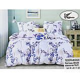 Комплект постельного белья евро Koloco белые Цветы 200x230см сатин, фото 2