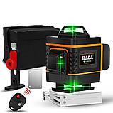 Лазерный уровень Hilda 3D 12 линий для стяжки пола, плитки ➜ ПУЛЬТ ➜ Кронштейн ➜ Зеленые лучи, фото 4