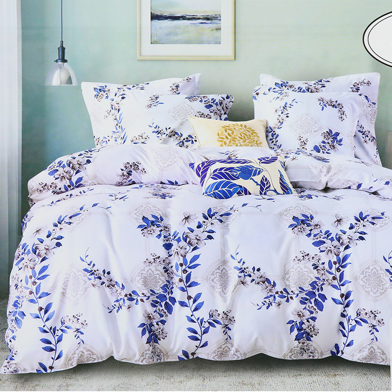 Комплект постельного белья евро Koloco белые Цветы 200x230см сатин