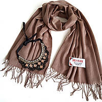 Набор котоновый шарф и массивное украшение в коричневых тонах - выгодное предложение