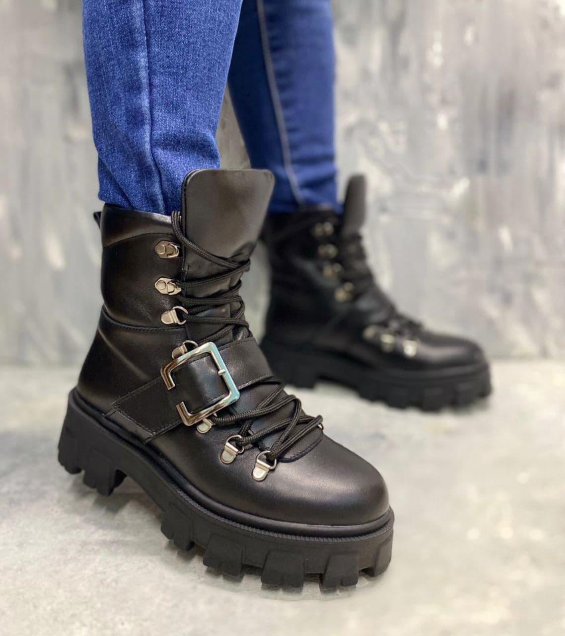 Стильные женские ботинки с ремешком на меху 36-41 р