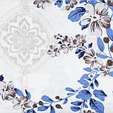 Комплект постельного белья евро Koloco белые Цветы 200x230см сатин, фото 3