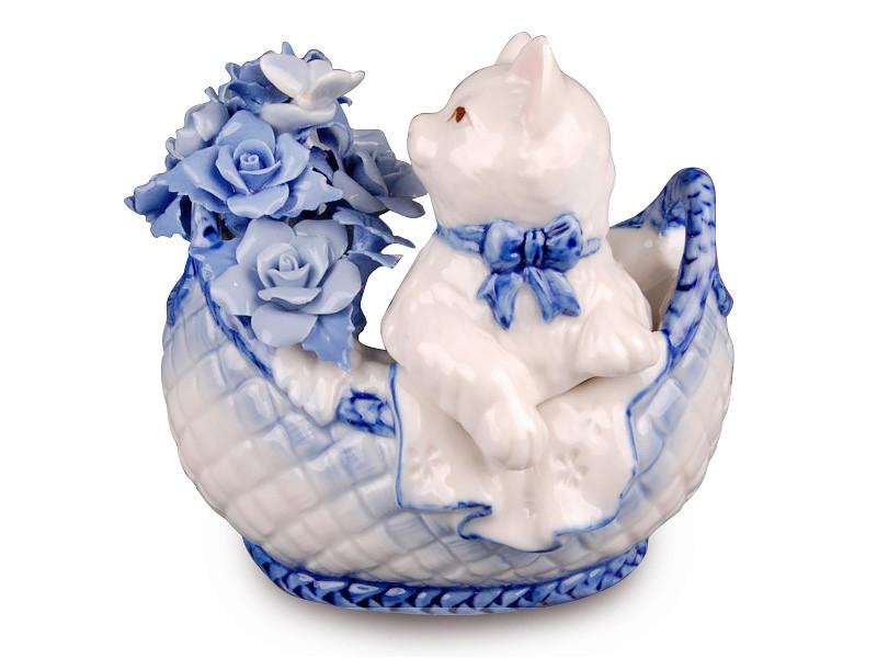 Статуетка Кішка в кошику 13 см фарфор 461-077