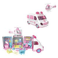 Игрушечный набор доктора Больница в розовой машинке скорая помощь 26 см с куклой и с аксессуарами