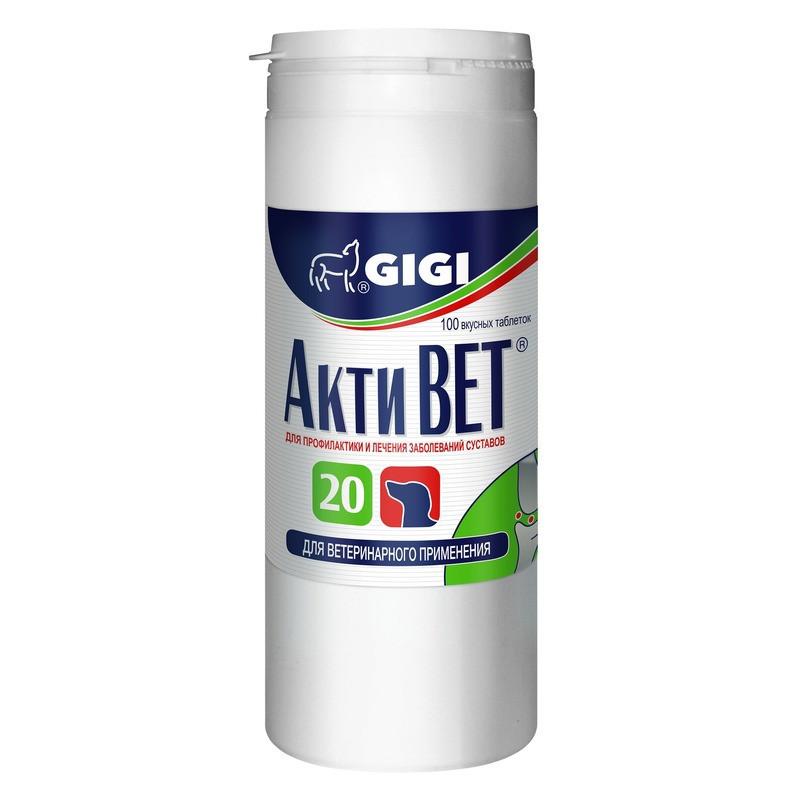 АКТИВЕТ GIGI ACTIVET хондропротектор противовоспалительный для собак, 100 таблеток, 1 таблетка на 20 кг