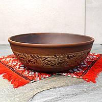 Большая миска из красной глины Колосок 27 см, керамика