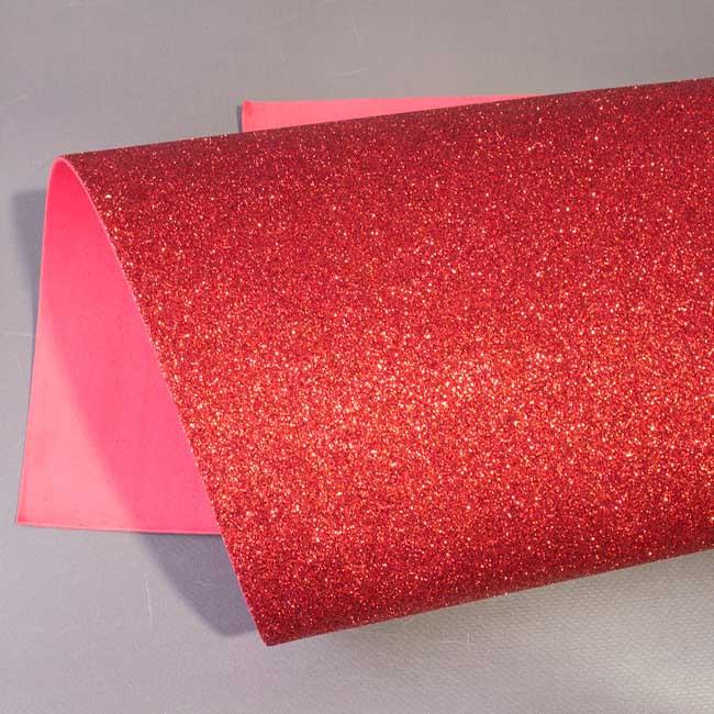 Фоамиран с глиттером красный