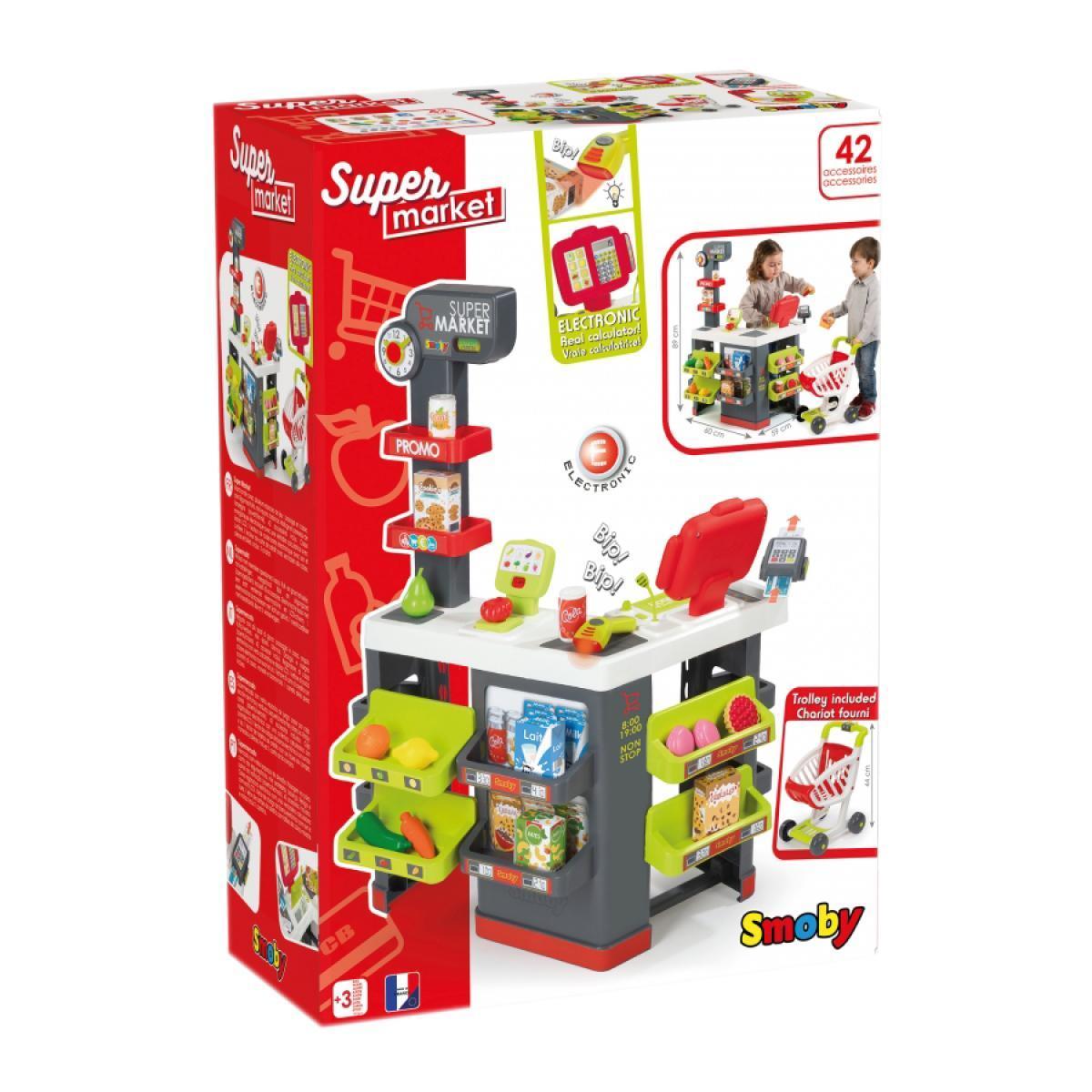 Интерактивный супермаркет Smoby Toys City Market со звуковыми эффектами, тележкой и аксессуарами