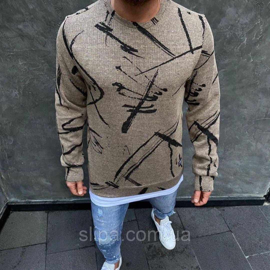 Стильний чоловічий светр з принтом бежевий ( Туреччина )