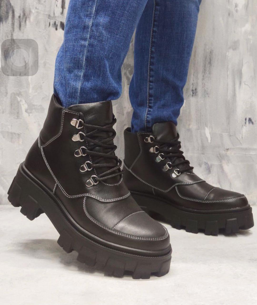 Модні жіночі черевики на білій рифленій підошві 36-41 р