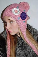 Шапка молодежная с камнями розовая
