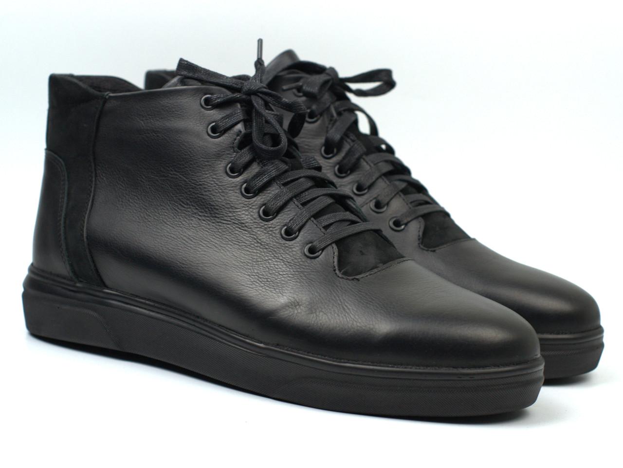Мужская обувь больших размеров зимние ботинки черные кожаные на меху Rosso Avangard North Lion Black 02-227 BS