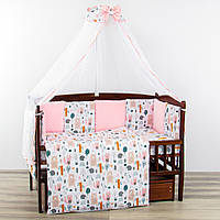 """Комплект постельного в кроватку для новорожденного """"Зверюшки"""" розовый"""