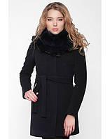 Модное женское зимнее кашемировое пальто с меховым воротником, фото 1