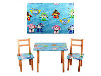 """Детский столик """"Робокар Поли"""" M 2754, деревянный, 2 стульчика"""