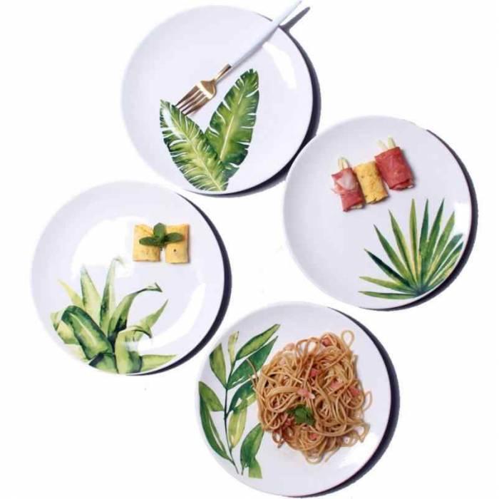 Керамическая тарелка рисунки растений 26 см