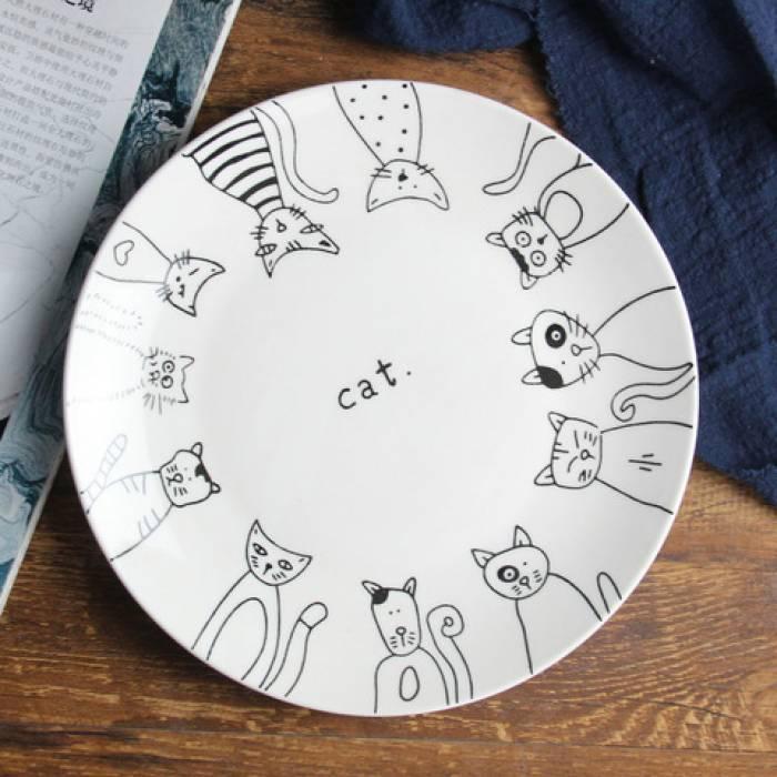Стильная керамическая тарелка рисунок кошки 20 см