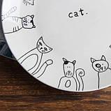Стильная керамическая тарелка рисунок кошки 20 см, фото 2