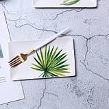 Керамічна прямокутна тарілка з квітковим малюнком 20 см, фото 4