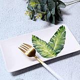 Керамічна прямокутна тарілка з квітковим малюнком 20 см, фото 5