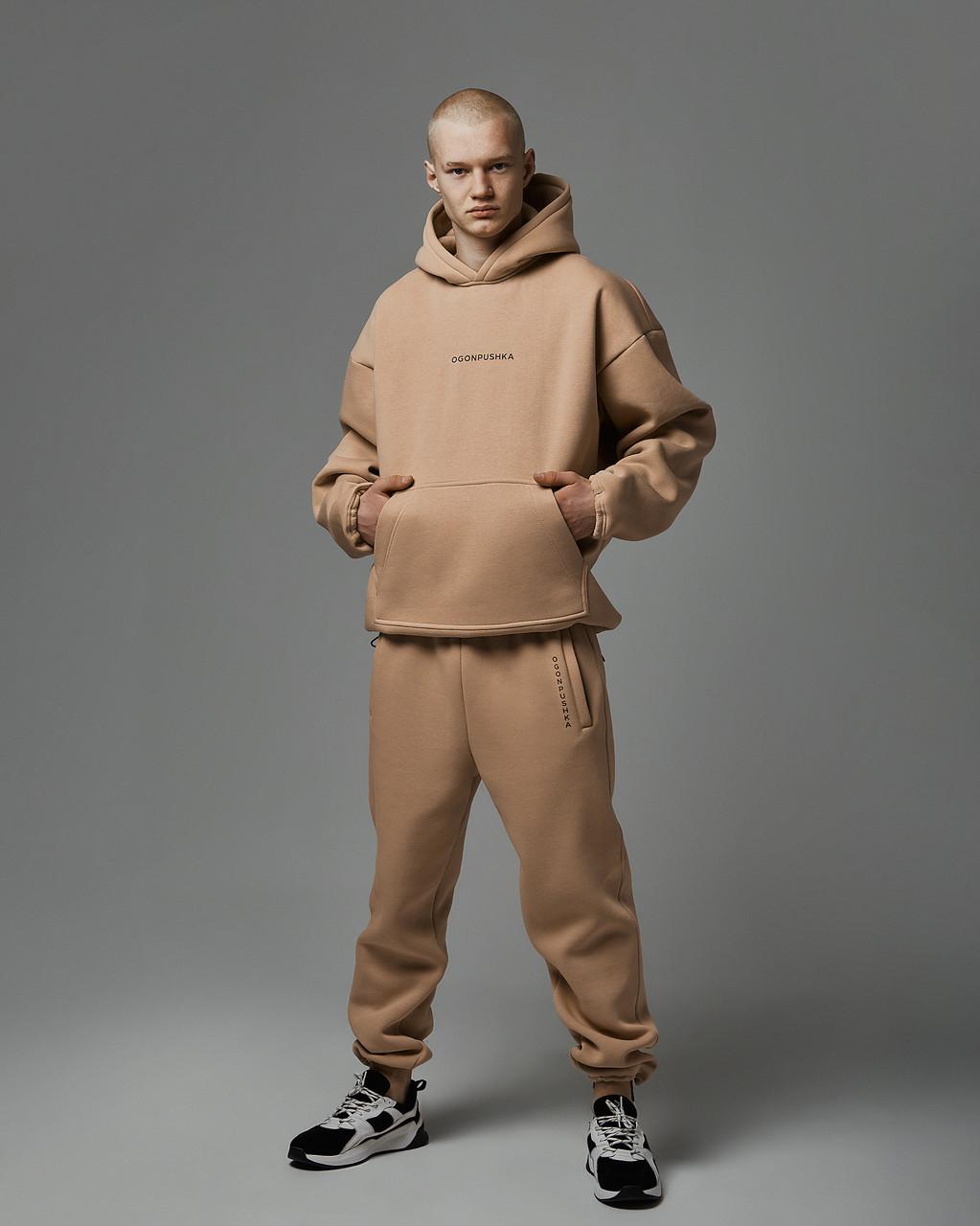 Теплый спортивный костюм оверсайз Пушка Огонь Scale бежевый